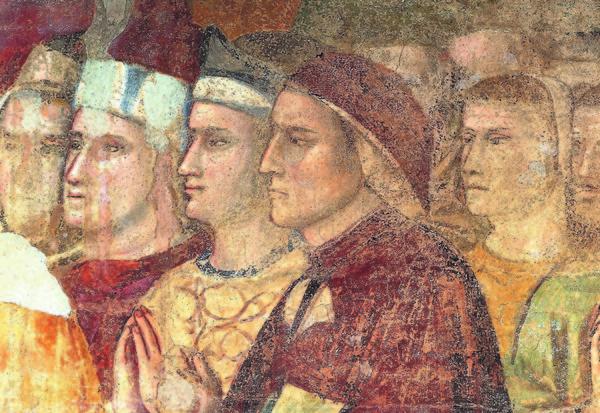 Ritratto di Dante dipinto da Giotto, nel 1321, dopo la morte del poeta. Cappella della Maddalena (Bargello - Firenze)